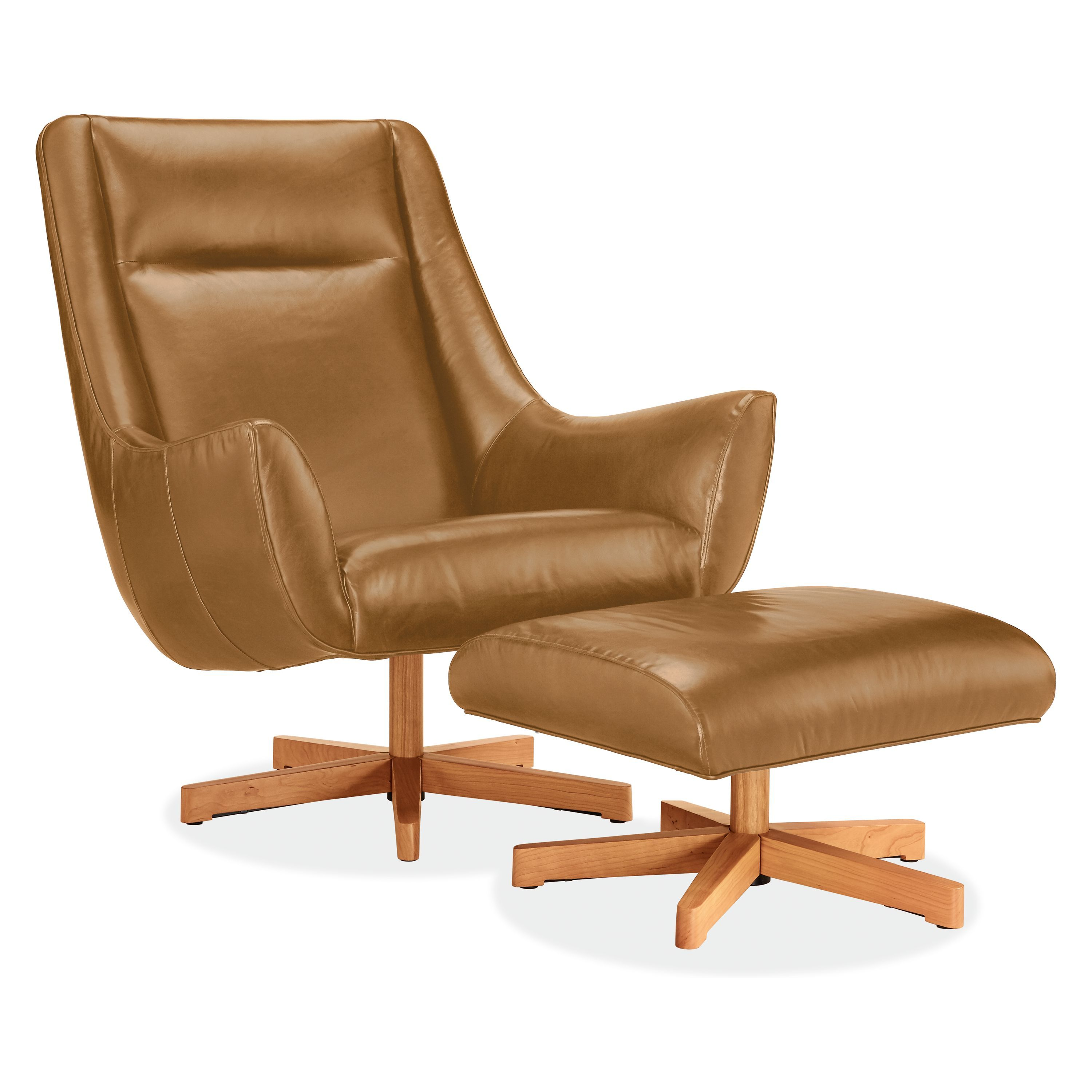 Charles leather swivel chair ottoman with wood base