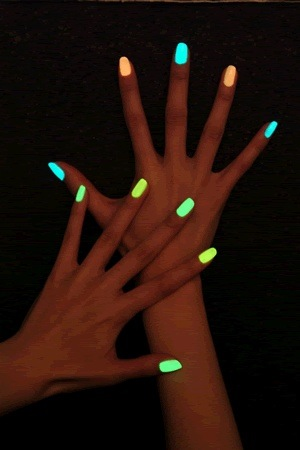 Break a glow stick and put it in a clear nail polish