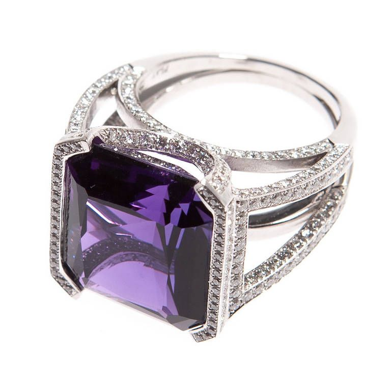 Cipullo Amethyst Diamond Platinum Ring | From a unique collection of vintage cocktail rings at https://www.1stdibs.com/jewelry/rings/cocktail-rings/