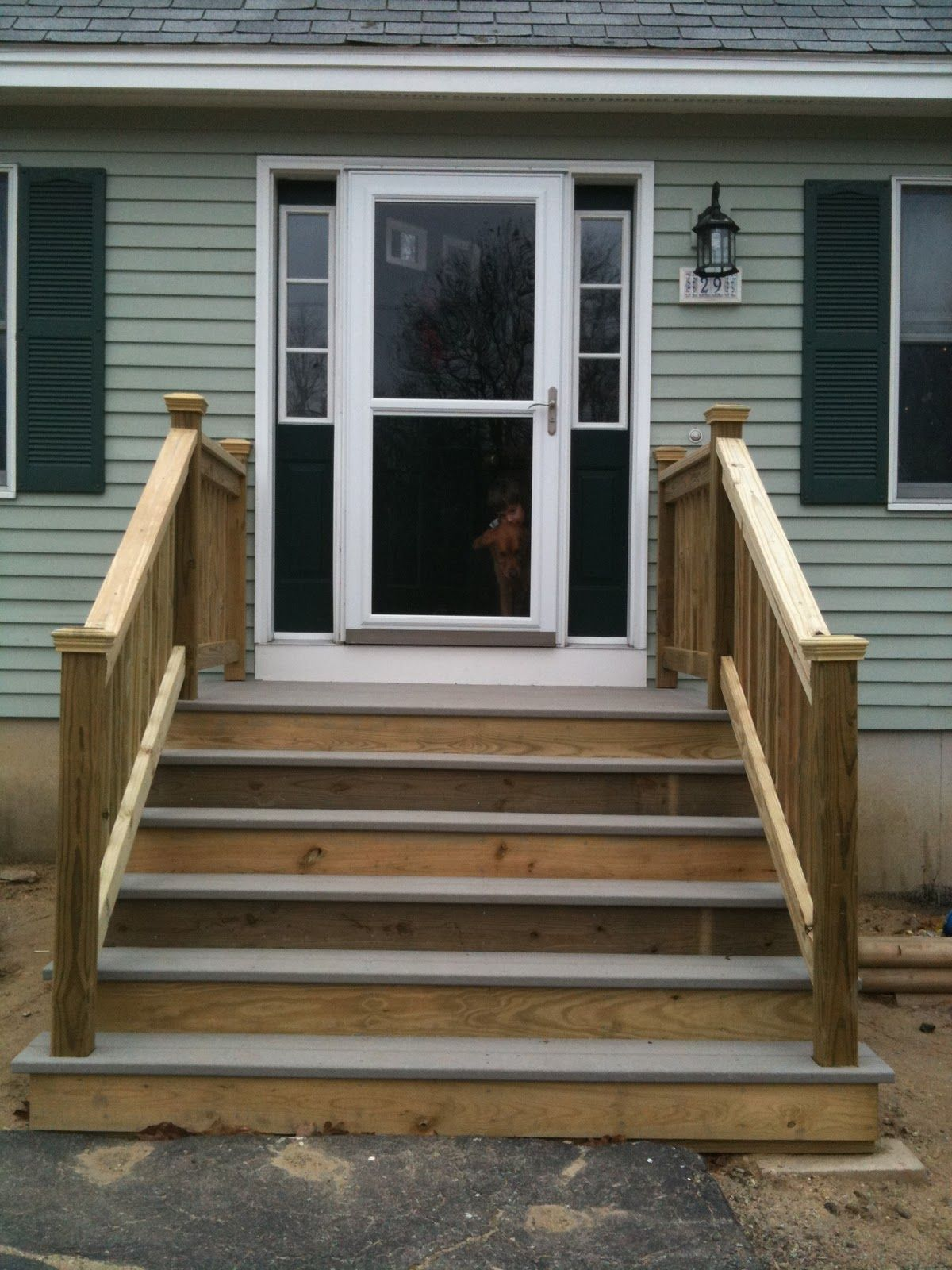 Front steps google search front steps pinterest for Wooden front porch designs