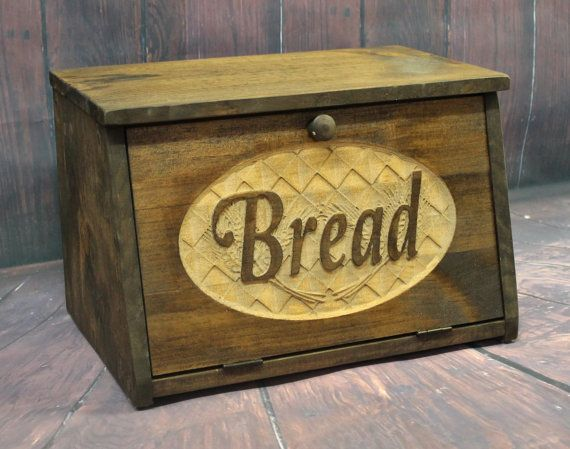 Wood Bread Box Bin Rustic Wooden Carved Door Bread Storage