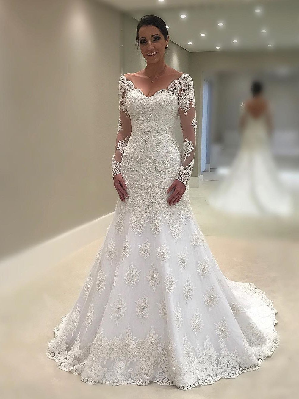 White lace wedding dress with sleeves  Hot Sale Excellent Lace White Wedding Dresses Mermaid Long Sleeves