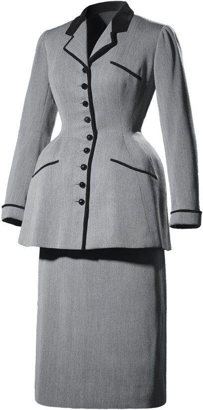 Balenciaga Tailleur de laine grise et velours de soie noir 1947