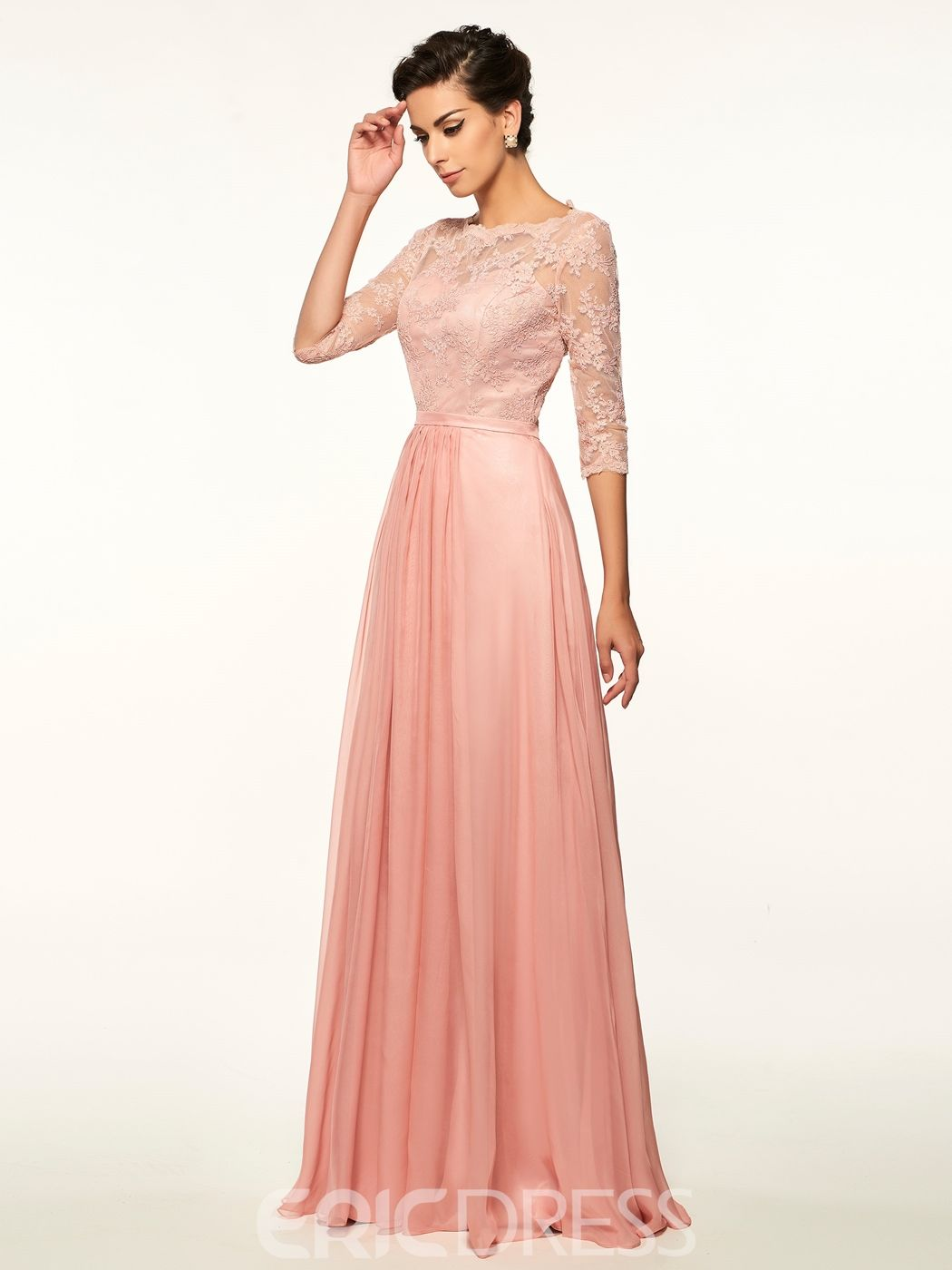 Lace half sleeves a line long scoop mother of the bride dress