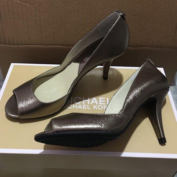 NIB Michael Kors Nathalie Nickel Open Toe Heels Brand new in box. Michael Kors Shoes Heels