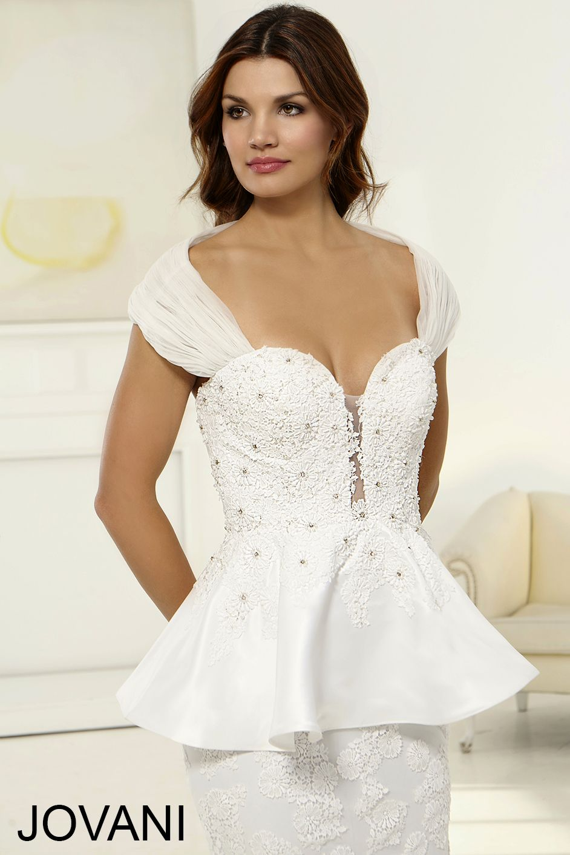 Jovani dress jb78140 white long fitted peplum gown wi