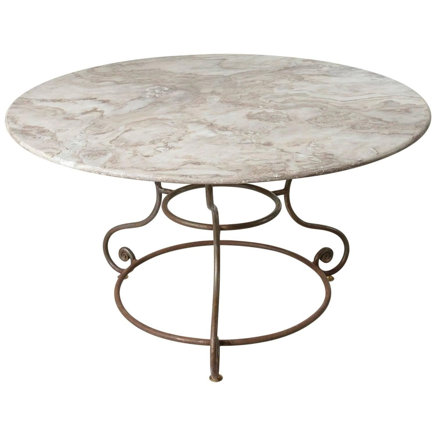 French Large Round Iron Base Garden Table with Exceptional ...