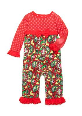 Nursery Rhyme Red Paisley Coverall InfantBaby Girls