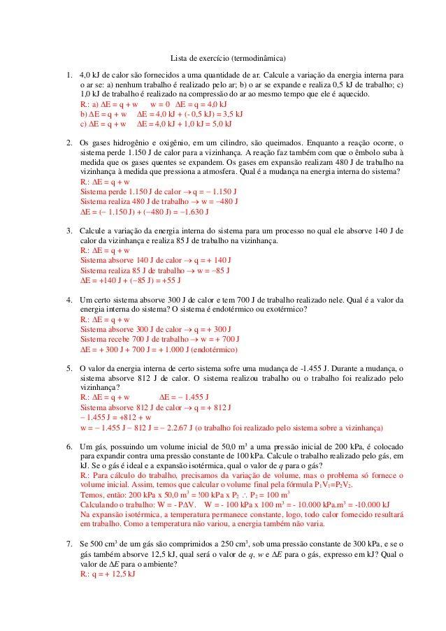 Lista De Exercicio Termodinamica 1 4 0 Kj De Calor Sao
