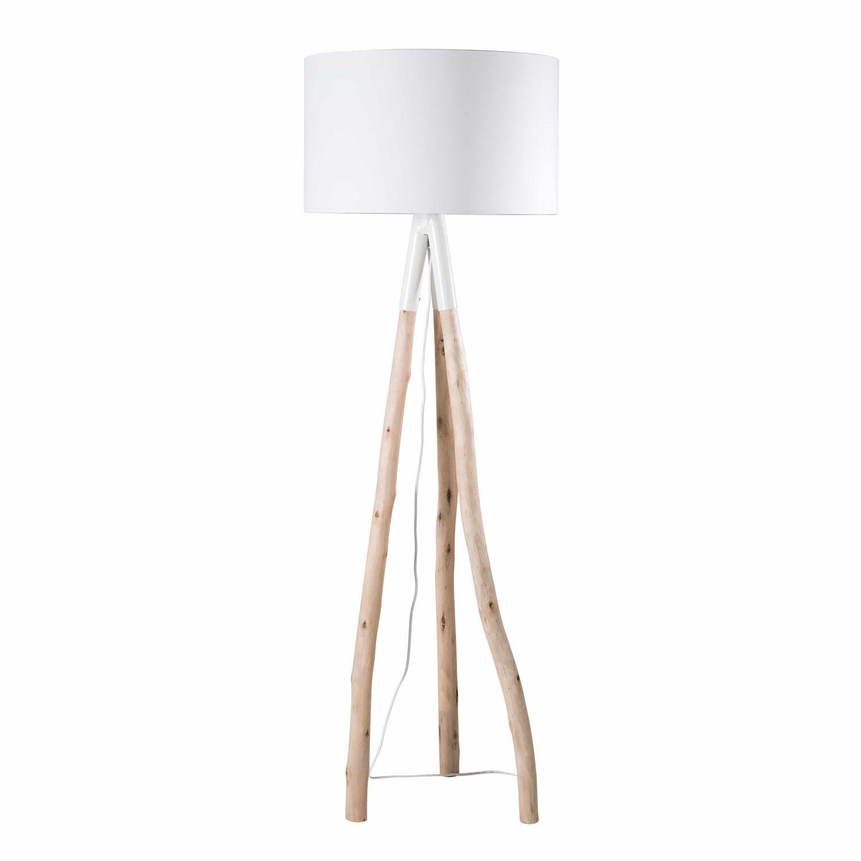 lampadaire branche d'eucalyptus et abat-jour blanc h152 | deco salon