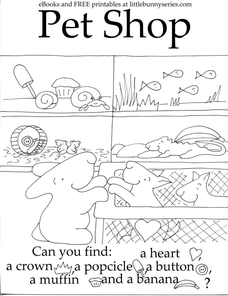 Pet Shop Seek And Find PDF Pets Preschool Theme, Fun Preschool Worksheets,  Pets Preschool
