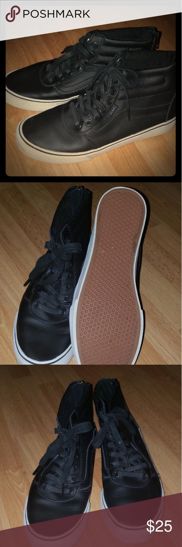 682fa09741 Sk8 high black perf leather vans Gently used Vans Shoes Sneakers