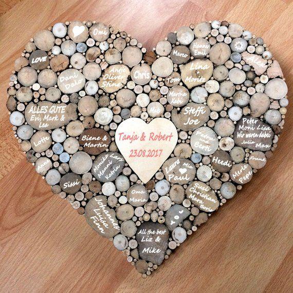 Libro de invitados de boda, corazón de madera 85 invitados, aniversario, regalo de bodas, libro de invitados alternativo