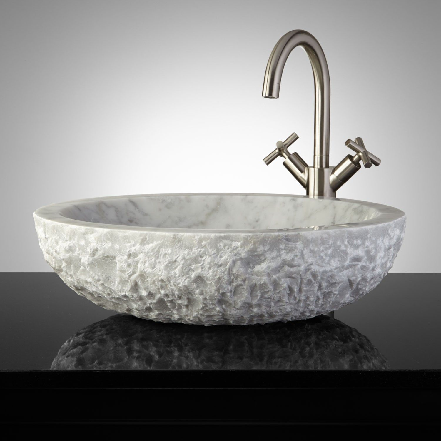 Oval Chiseled Marble Sink Available From Signature Hardware