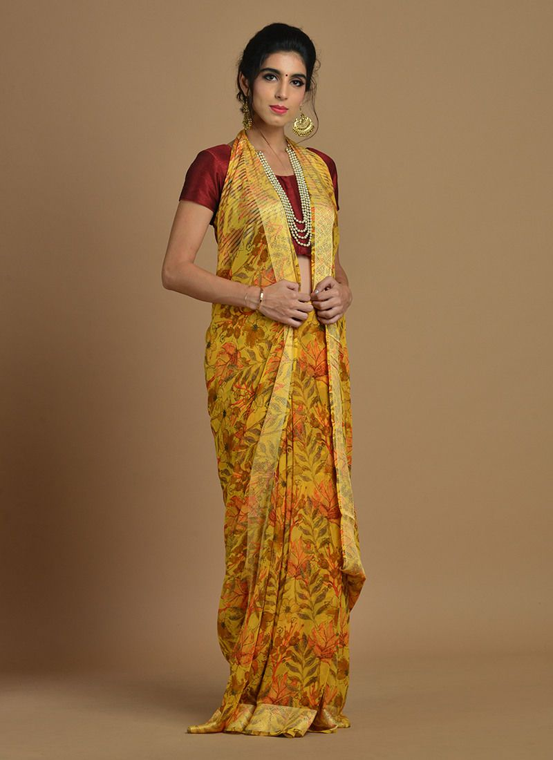 Yellow cotton saree for wedding pin by joshindia on classy saree  pinterest  saree latest