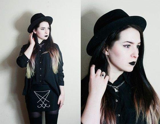 Get this look: http://lb.nu/look/8044474  More looks by Silver Wolfie: http://lb.nu/silverwolfie  Items in this look:  Crushable Hat, Mango Shirt, Electronic Kitty Skirt, Argenta Mistica Ring, H&M Necklace   #chic #edgy #gothic #dark #nugoth #goth #ombre #sigil #lucifer