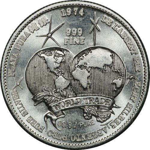 1974 Universal Trade Unit One Troy Ounce 999 Fine Silver Round Globes Design Silver Bullion Foreign Coins Bullion