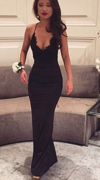Black Prom Dresses,Mermaid Prom Dress,Lace Prom Dress,Backless ...