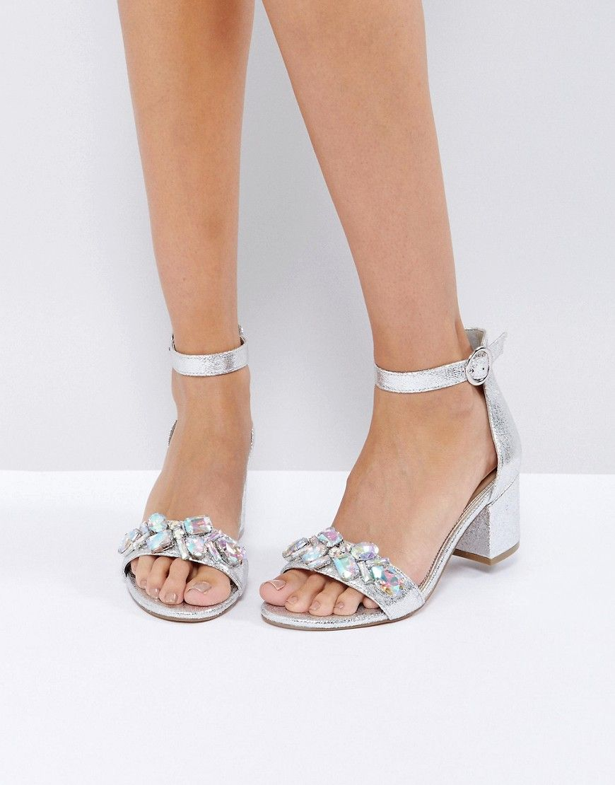 ad02effac15 ASOS HEAD CANDY Embellished Block Heel Sandals - Silver