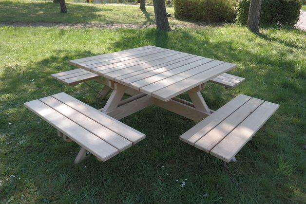 garnituren sitzgruppe picknickbank aus eichenholz ein designerst ck von frauschreinermeister. Black Bedroom Furniture Sets. Home Design Ideas