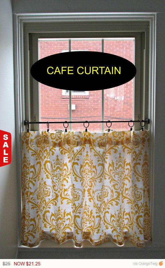 Damask Cafe Curtain choose Color, Window Treatments, Kitchen Valance ...