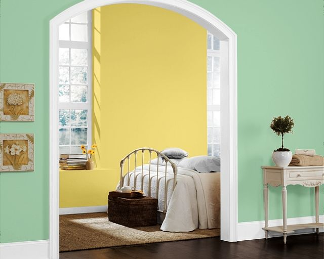wall color will be mint green (SW kiwi) and a bright yellow (SW ...