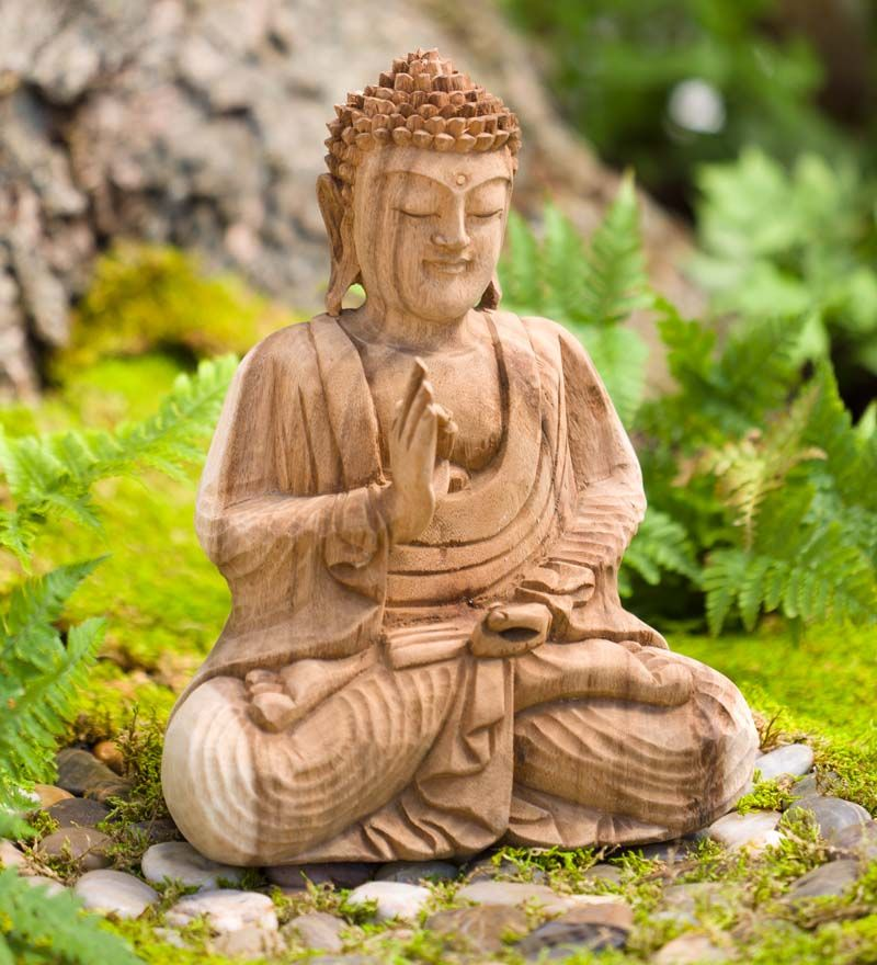 Wooden Buddha Sculpture Garden Statues Sculptures Weathered Wood Outdoor