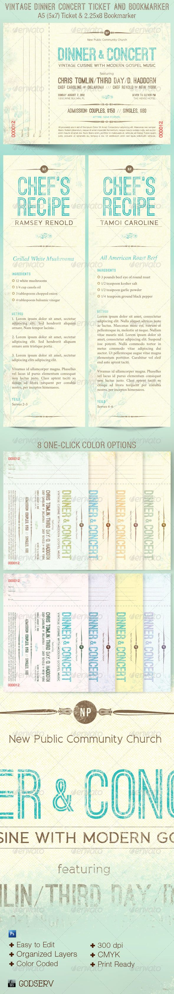 Concert Ticket Template Free Download Gorgeous Vintage Dinner Concert Ticket Bookmarker  Celebration Church .