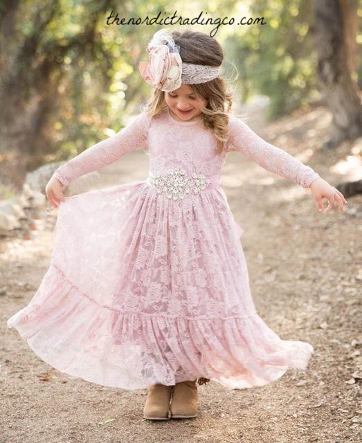 25cdab1f2c27 Rustic Long Lace Flower Girl Dress Big Ruffled Hem Long Sleeve Girl's  Dresses Girls sz 3T - 10 #toddler #flowergirldresses #girl #weddingideas ...