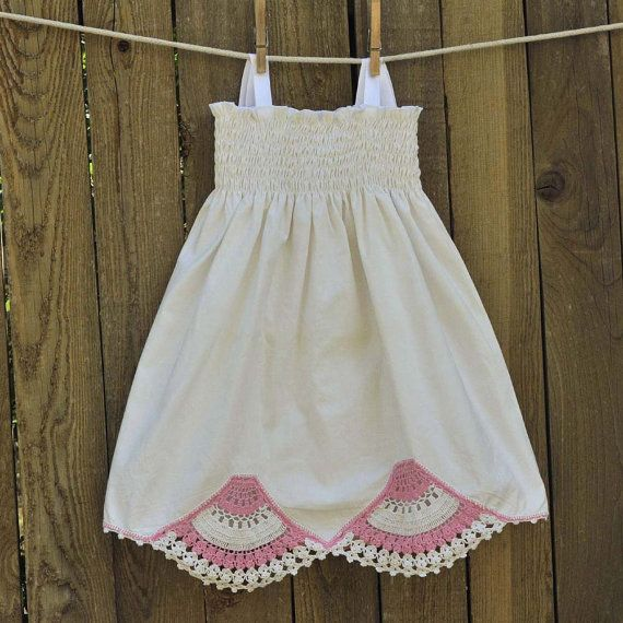 Girls Vintage Crocheted Linen Dress... Antique White with Pink $35
