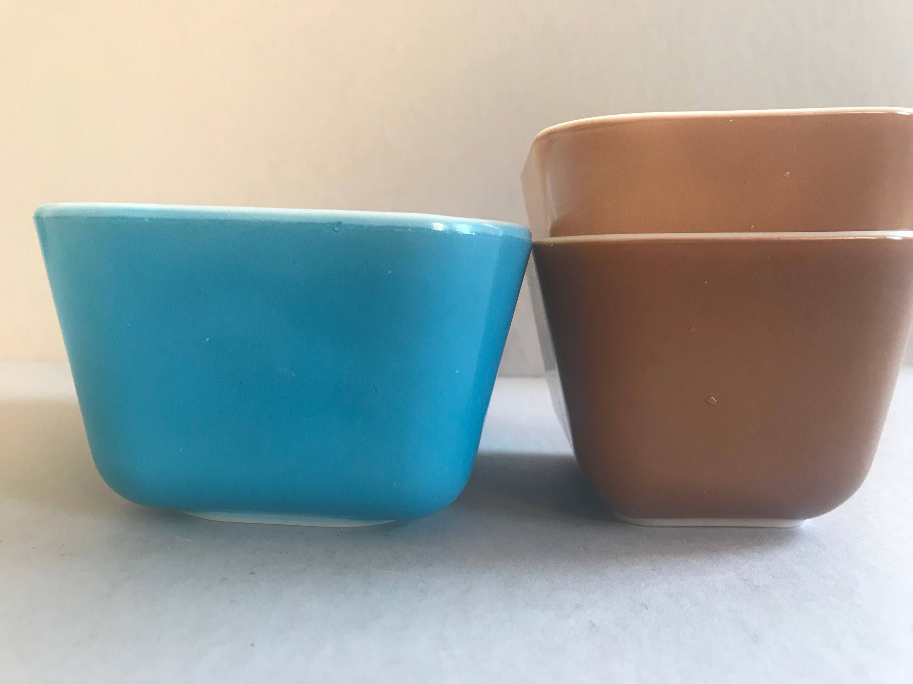 PYREX Refrigerator Dishes #502 # 501 Horizon Blue Old Orchard Brown ...
