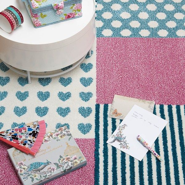 Play Hearts And Stripes Rugs In Pink Blue100x150cm 5 0
