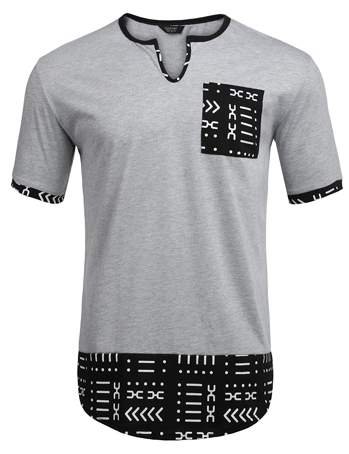 f5b73b78ad7 Mens Hipster Hip Hop Aztec Graphic Print Longline T-Shirt Stylish ...