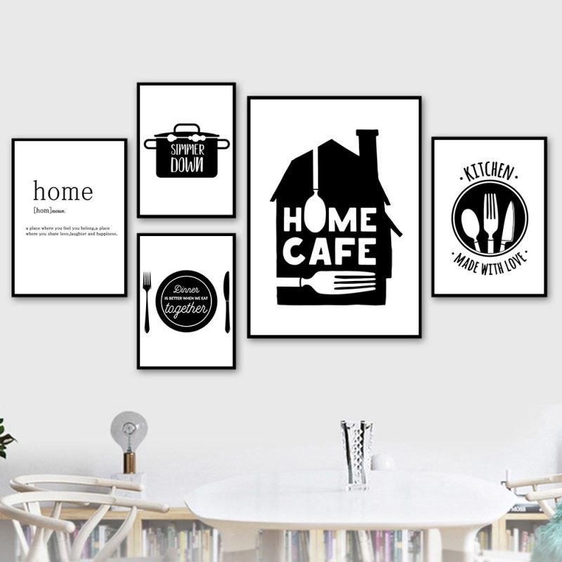 Black And White Canvas Painting Kitchen Quotes Poster Home Cafe Nordic Posters And Prints Wall Pictures Art Wall Home Decoration Cafe Wall Art Coffee Wall Art Canvas Art Wall Decor
