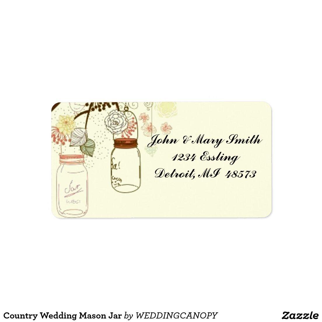 Country Wedding Mason Jar Personalized Address Labels