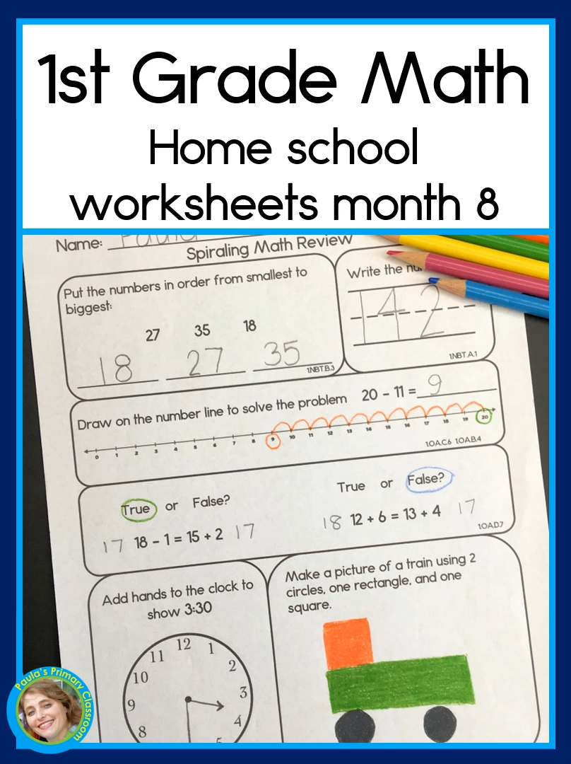 1st Grade Math Home School Worksheets Month 8 Teach Your Child First Grade Math Video Math Resources Common Core Math First Grade Math [ 1080 x 808 Pixel ]