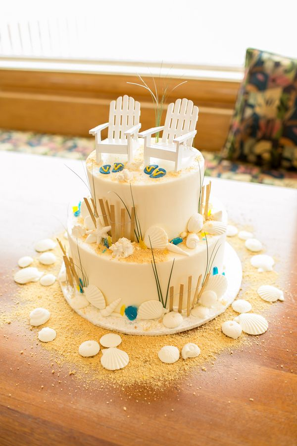 beach wedding cakes 2 tier blue and yellow outer banks carolina real wedding 11180