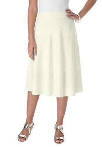 6fc13dc17773c Jessica London Women s Plus Size Bi-Stretch Full Skirt Ivory