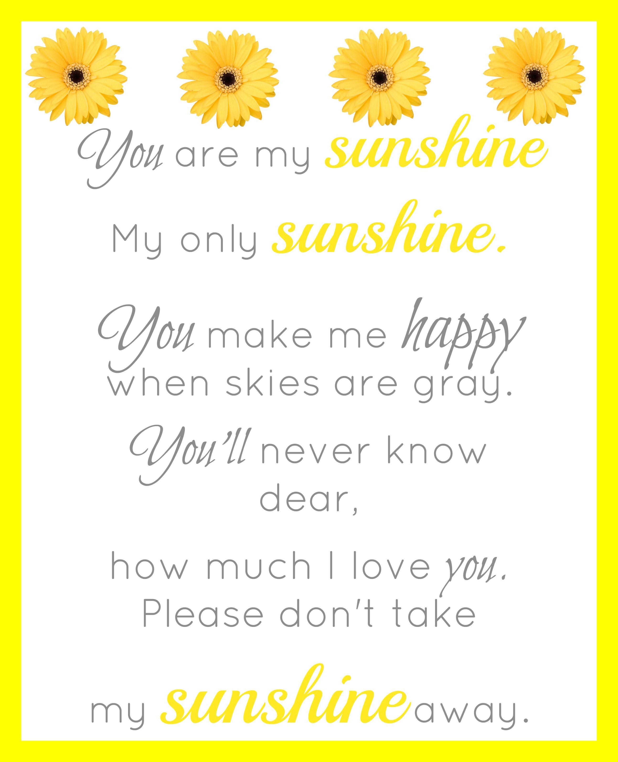 You Are My Sunshine Printable - Simple Living Mama