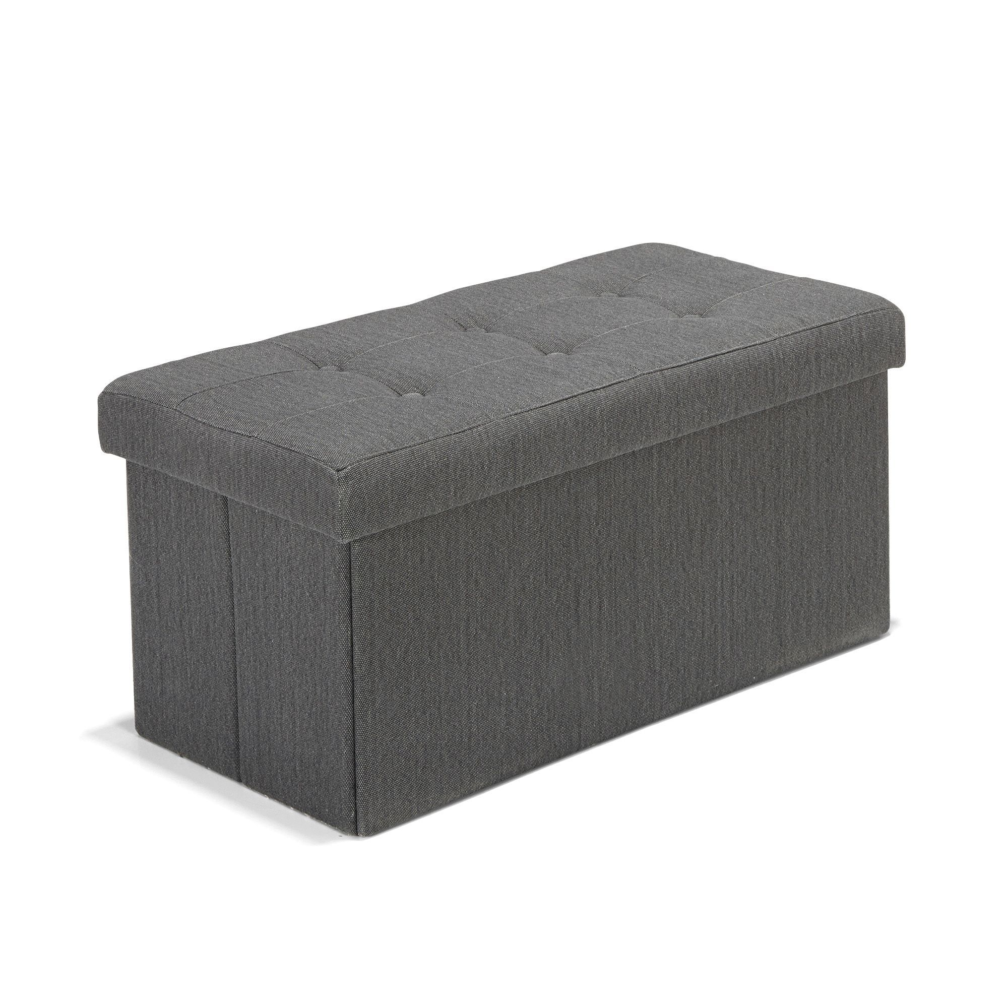 Pouf Coffre Banc Coloris Anthracite Pliable Oliver Poufs Fauteuils Poufs Salon Salle A Manger Par Piece Decoration Interie Meuble Deco Pouf Pouf Salon