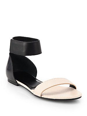 Chlo? Snakeskin & Leather Ankle-Strap Sandals
