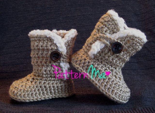 Crochet Women\'s Slippers Boots (size 5-12) #22 | Baby boots pattern ...