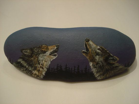Items similar to Pair of Wolves Howling hand painted on a rock. on Etsy