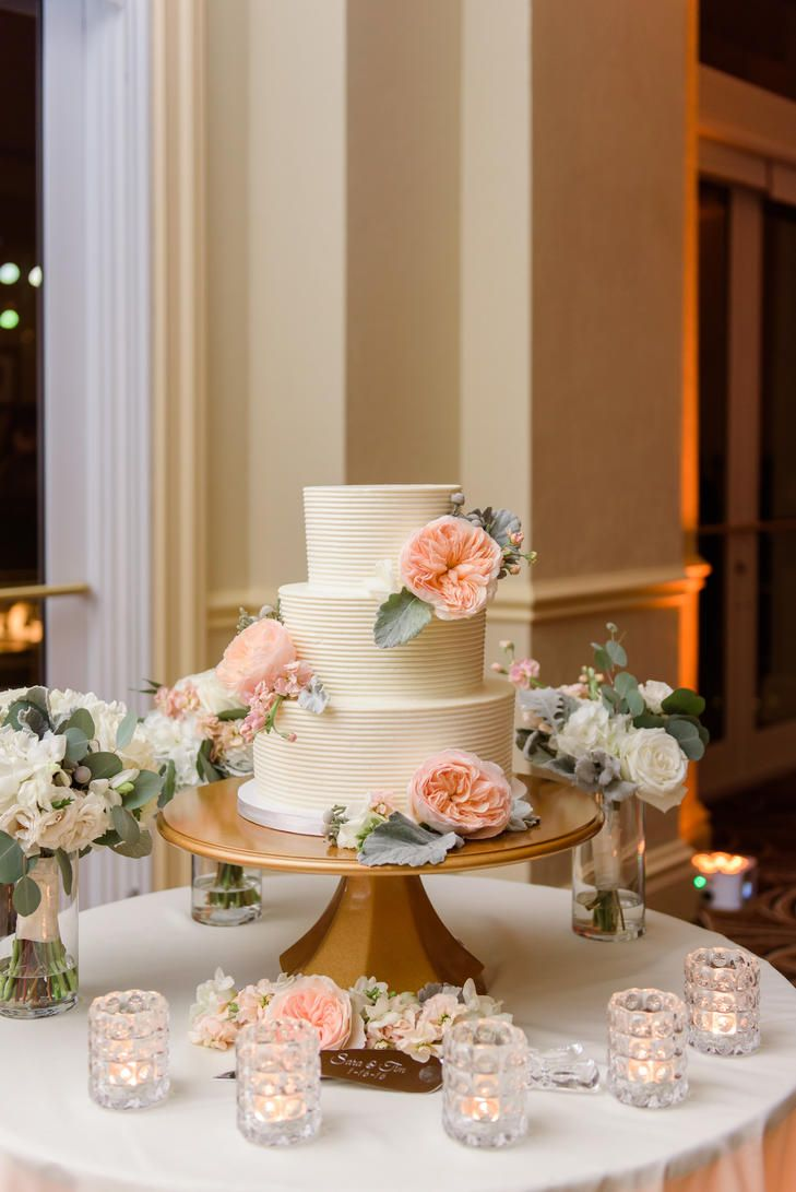 Textured buttercream cake with garden roses weddings pinterest