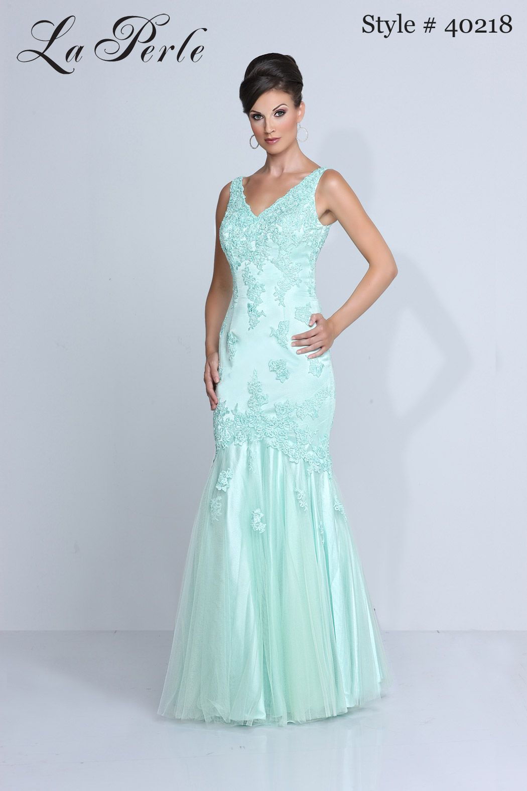 La Perle style # 40218 ~ mint blue green V-neck sleeveless lace and ...