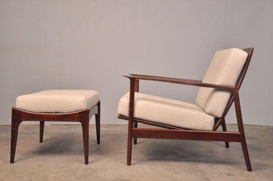 larsen selig danish modern walnut lounge chair ottoman dreamy
