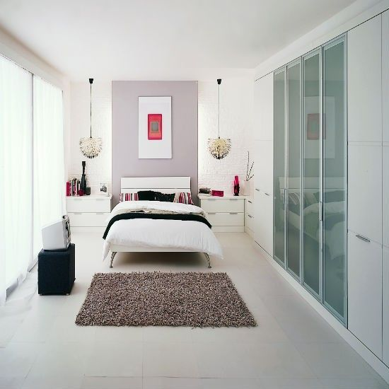 Contemporary Look With Frosted Closet Doors. #bedroom #modern #contemporary  #glass #closet #windows #accent #wall