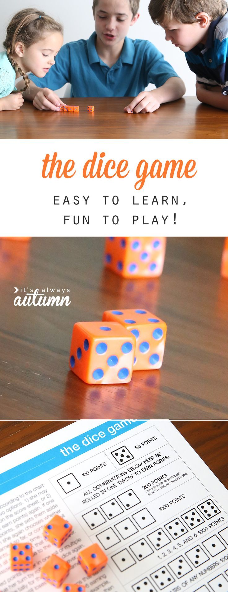 the dice game Easy games for kids, Free games for kids