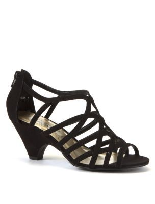 dcf30fe0afc Black Strappy Mid Heel Sandals