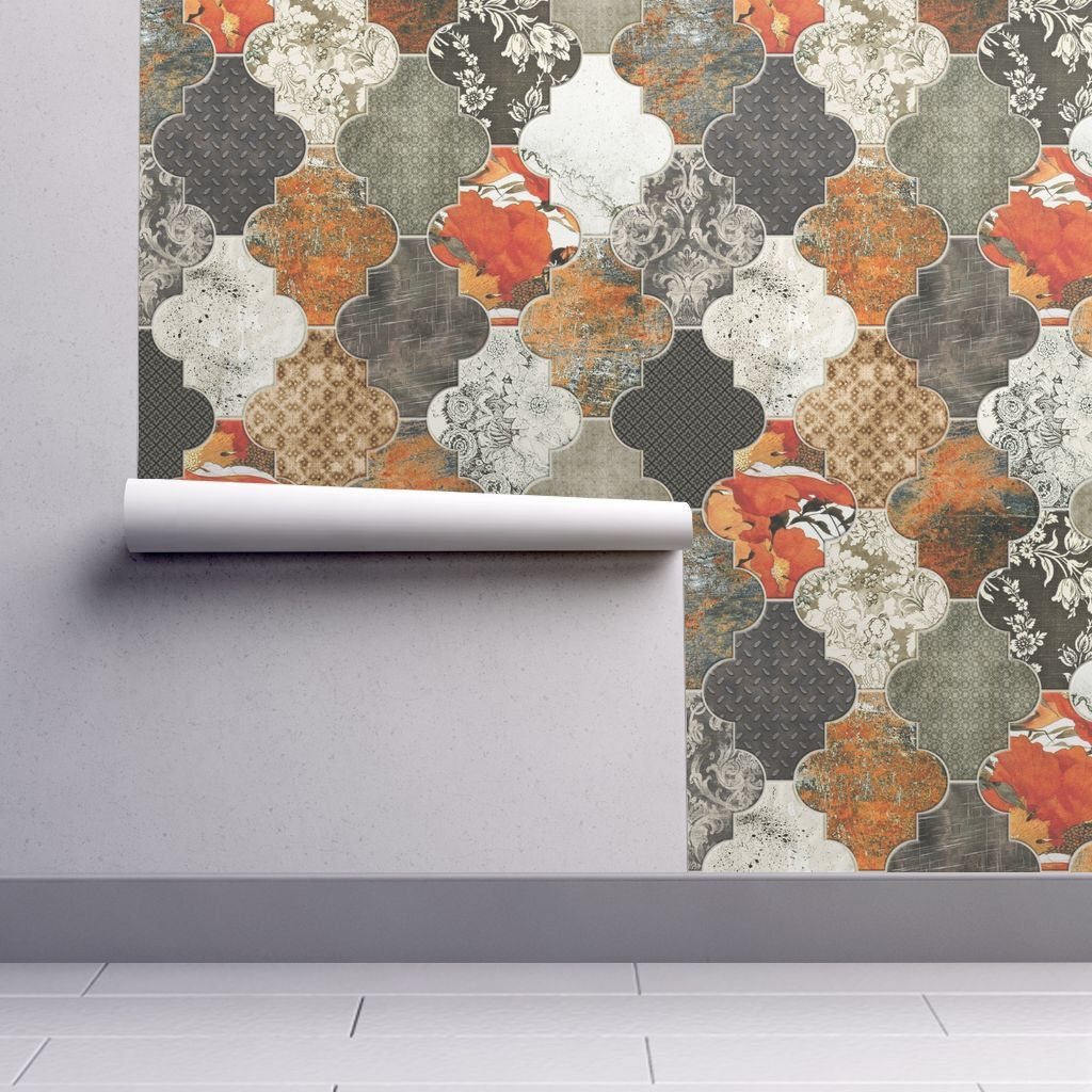 Moroccan Tiles Wallpaper Rust Orange Olive REMOVABLE Peel